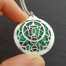 Planespheric Astrolabe Pendant - silver and green paua - 1