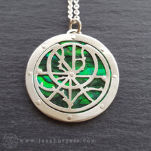 Planespheric Astrolabe Pendant - silver and green paua - 2