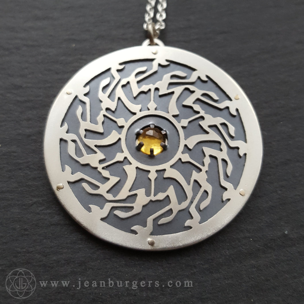 Ornamental Calligraphy Pendant - Citrine