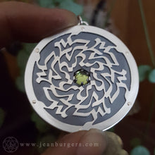 Ornamental Calligraphy Pendant - Green Peridot