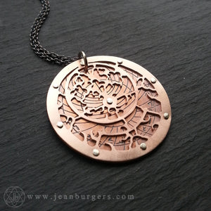 Planespheric Astrolabe Pendant - etched copper
