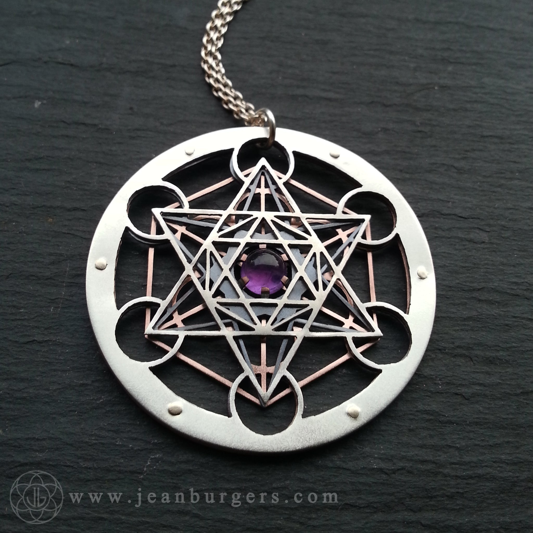 Metatrons cube pendant choose your own gemstone jean burgers amethyst metatrons cube pendant handcrafted by jean burgers jewellery aloadofball Gallery