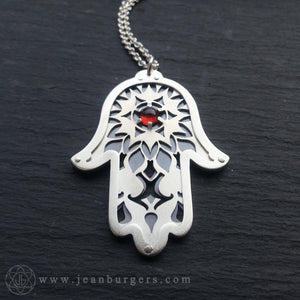 Hamsa Protection Pendant - Red Garnet
