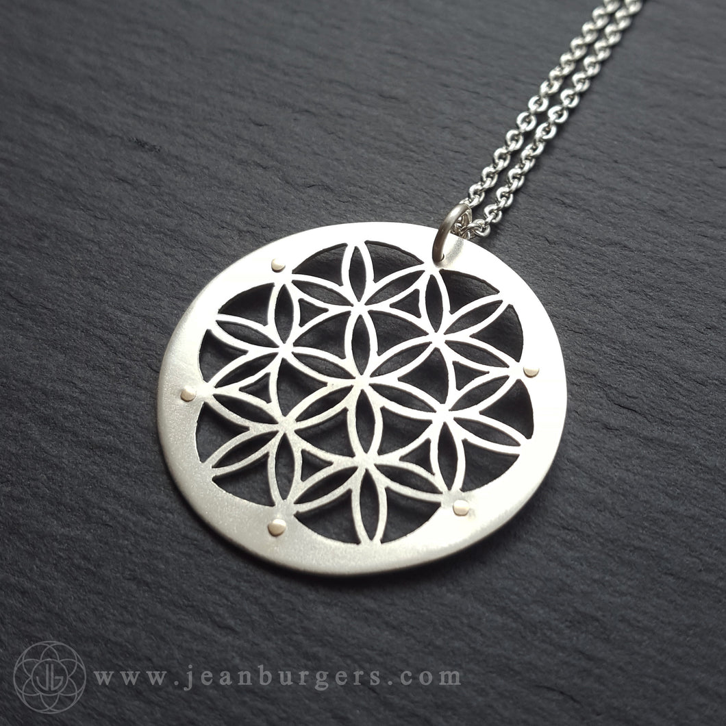 Flower of Life Pendant - sterling silver and 9ct gold