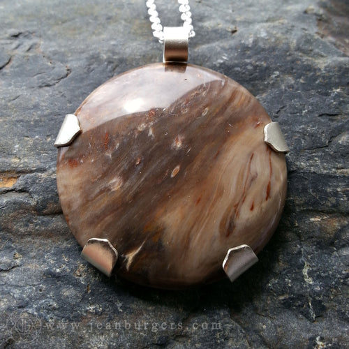 Petrified Wood Mandala Pendant