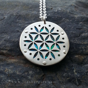 Flower of Life Pendant - Small blue
