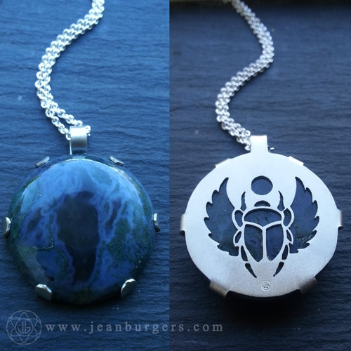 Moss Agate Scarab Pendant