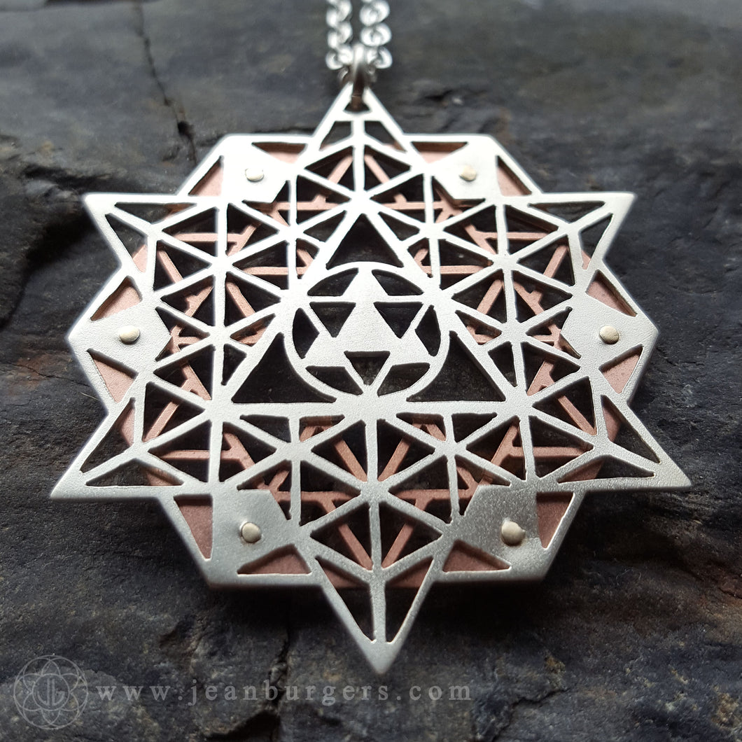 64 Tetrahedron Grid Star Tetrahedron Pendant - Handcrafted by Jean Burgers Jewellery