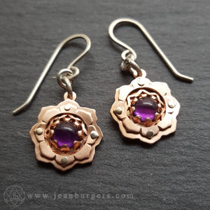 Little Copper Lotus Earrings - amethyst