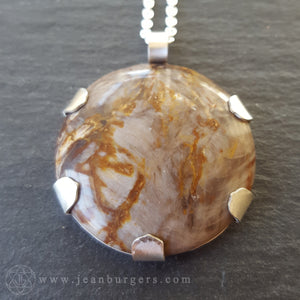 Petrified Wood Asanoha Eye of Ra Pendant