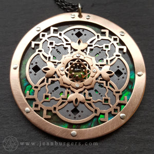 Through The Water She Spoke Mandala Pendant - copper