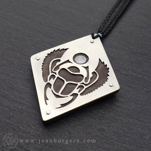 Egyptian Scarab Pendant - ebony and silver