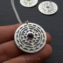 Sri Yantra Pendant - choose your gemstone