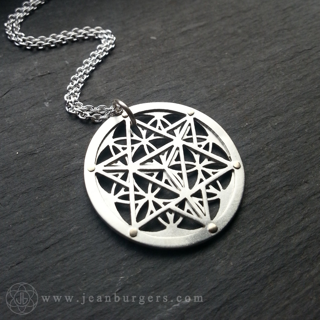 Star Tetrahedron Flower of Life Pendant - sterling silver