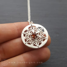 Star Tetrahedron Flower of Life Pendant - choose your own gemstone