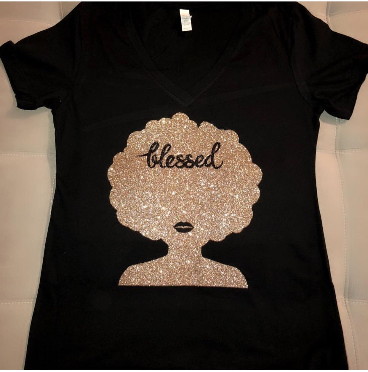 Blessed Fro With Gold Glitter