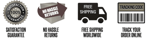 Free shipping, no hassle returns, satisfaction guarantee, track your shipping online