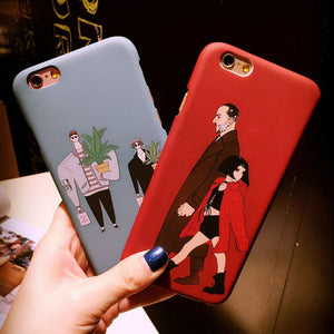 Hard PC Matte Frosted Texture Back Cover / Leon & Mathilda Cartoons For iPhone 5 / 6 / 7