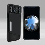 iPhone Protective Case + 6 in 1 Integrated Dual Camera Fisheye Wide Angle Macro Telescope Zoom Optics Lens
