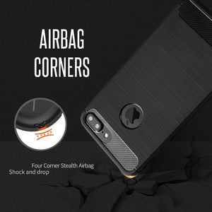Shockproof Armor iPhone Cases Carbon Fiber Soft TPU Silicone Back Cover