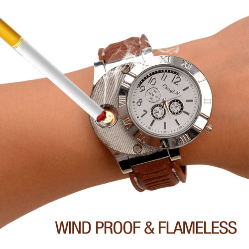 2 In 1 Wrist Watch/Lighter USB Rechargeable Flameless Cigarette Lighter - 50% Off Today!