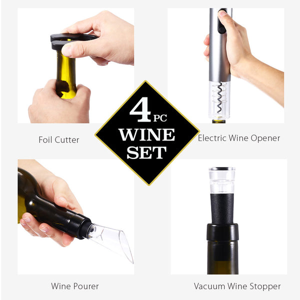 4 Piece Set Stainless Steel Electric Wine Bottle Opener - Foil Cutter - Vacuum Stopper - Wine Pourer