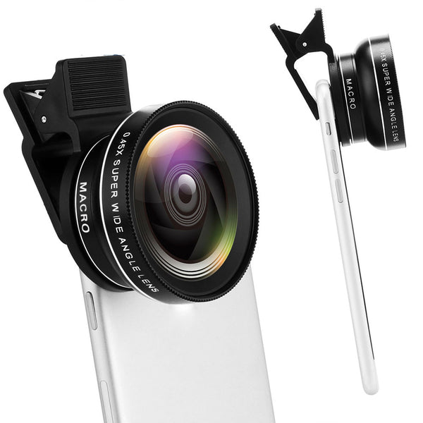 Clip-on IPhone Camera Lens Kit 0.45X Wide Angle + 12.5X Macro Lens