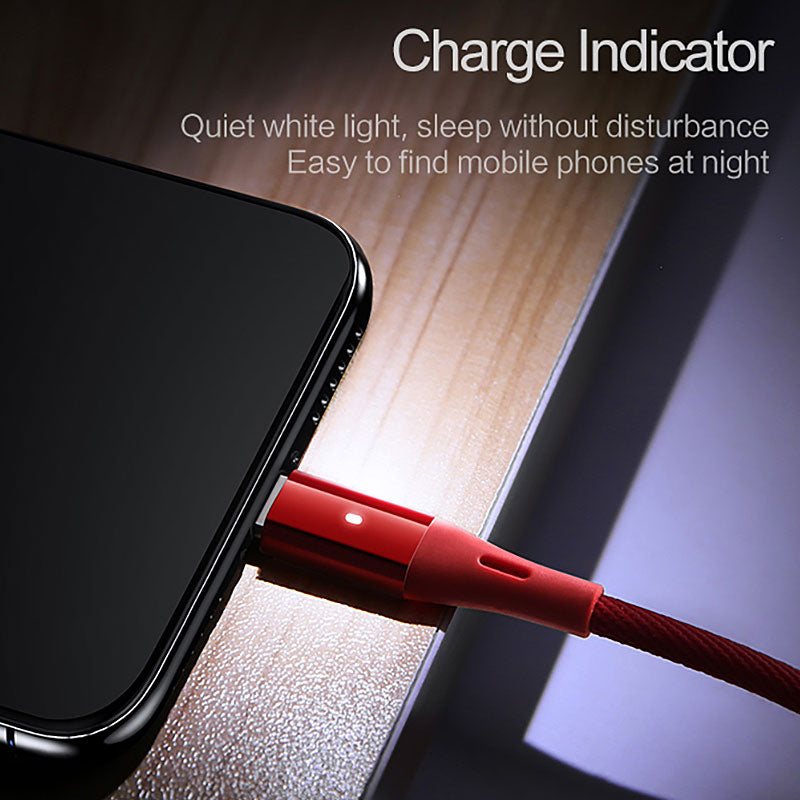 Unbreakable Fast Charging USB/Lighting Cable With LED Indicator for