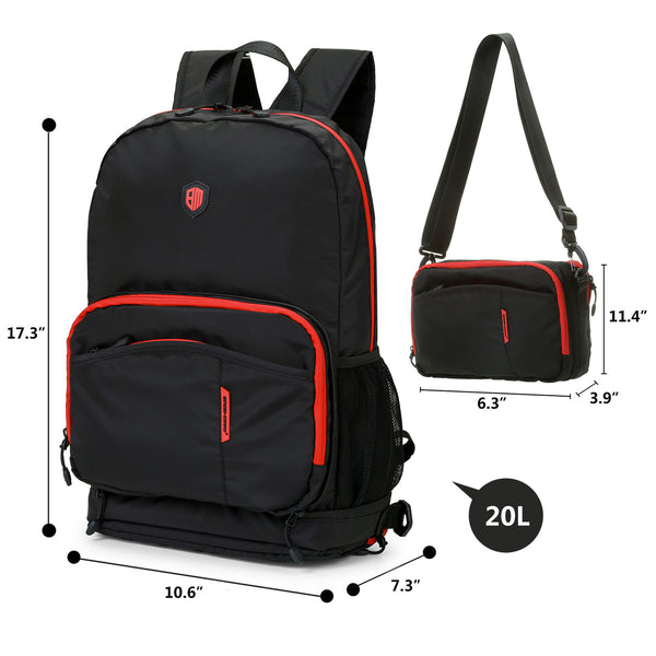 BAGMART Foldable Backpack Black color with red trimms