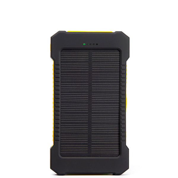 2X USB Solar Power Charger 10000mAh Waterproof-Shockproof-Integrated Flashlight showing its dual USB ports best deal