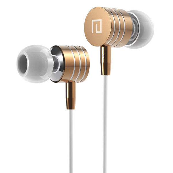 Langsdom i7A Wired Metal Earbuds with HD Mic shown in gold color metal