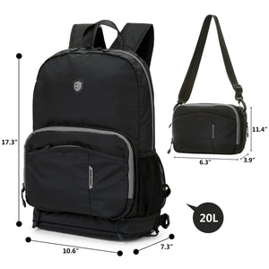 BAGMART Foldable Backpack Black/Grey