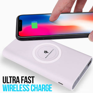 Portable Qi Wireless Power Bank 10000mAh USB Charging Pad Compatible with Most Smartphones