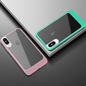 Ultra-thin Transparent iPhone X Case TPU / PC Silicone Shockproof Armor