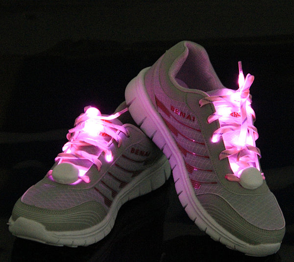 LED Multicolor Glow in the dark Shoelaces / Flashing Patterns shown in pink color