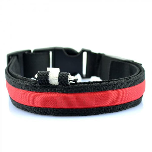 Super Bright LED Glow In The Dark / Flashing Dog Collar black color with red glow