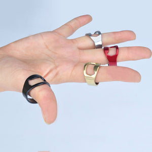 FREEBIE - Stainless Steel Finger Ring  Beer Bottle Opener Black / Silver Colors