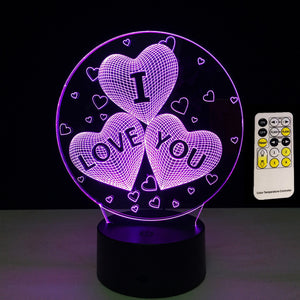 3D LED/USB Nightlight Glow I Love You Lamp With 7 Changeable Colors Using Touch or Remote Control