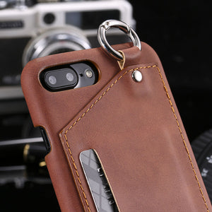 Leather Wallet + Card Holder Slot + Metal Ring Case For iPhone