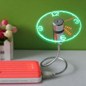 USB Mini Fan Clock With LED Light Digital Display