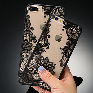 Sexy Lace Floral Paisley Flower Back Cover and Silicone Edge iPhone Case