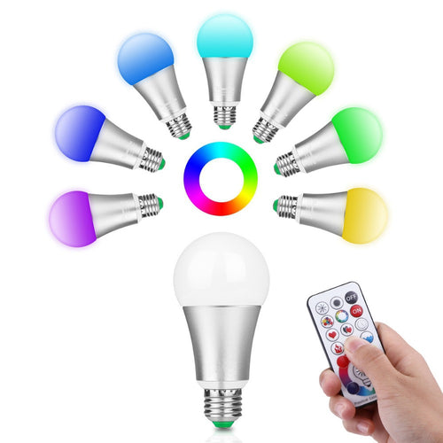 LED Light Bulb Displays 120 RGB Colors With Remote Control & Memory Function Aluminum socket 10W 220V