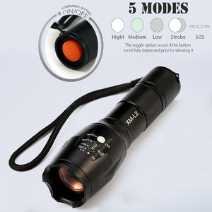LED Tactical Flashlight 12000 Lumens CREE XM-L2 Convex Lens