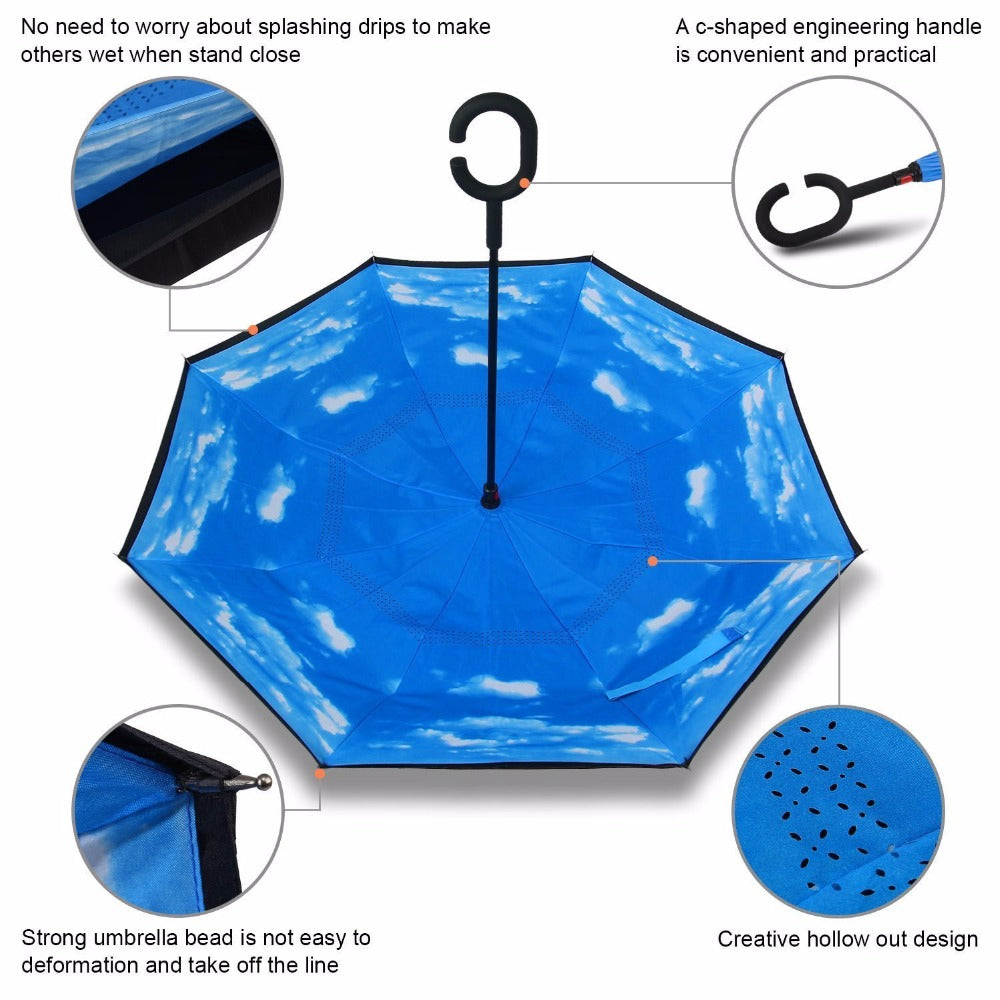 Double Layer Inverted Inverted Umbrella Is Light And Sturdy Glitter Vintage Lights Background Blue Purple Reverse Umbrella And Windproof Umbrella Edg