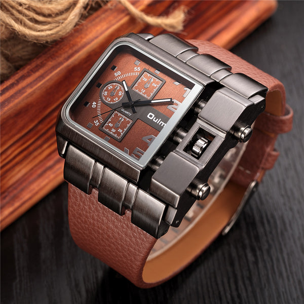 Military Style Oulm Wrist Quartz Men Watch Square Dial PU Leather Strap leather strap