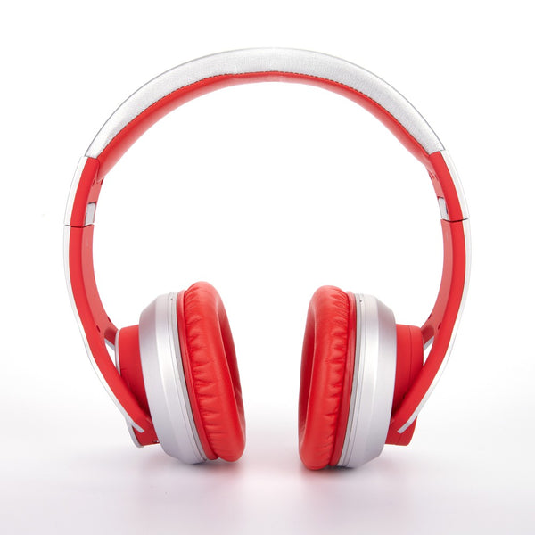 Syllable G800 Wireless Bluetooth 4.0 Headphone DM Active Noise Reduction shown in silver and red