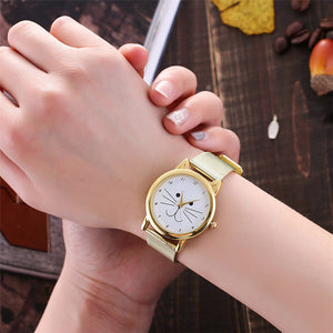 Women Luxury Cat Watch Gold Mesh Wrist Band