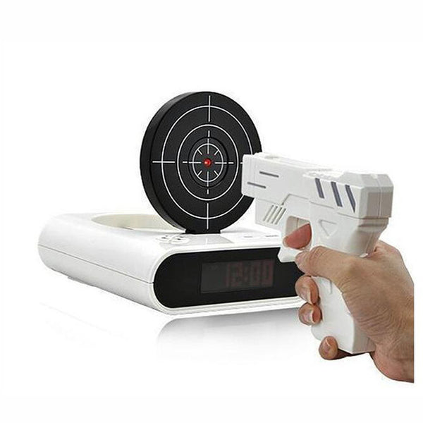 LED Gun Target Alarm Clock Lock N Load and Shoot, The Coolest Way To Wake Up is using this cool alarm gadget in white color