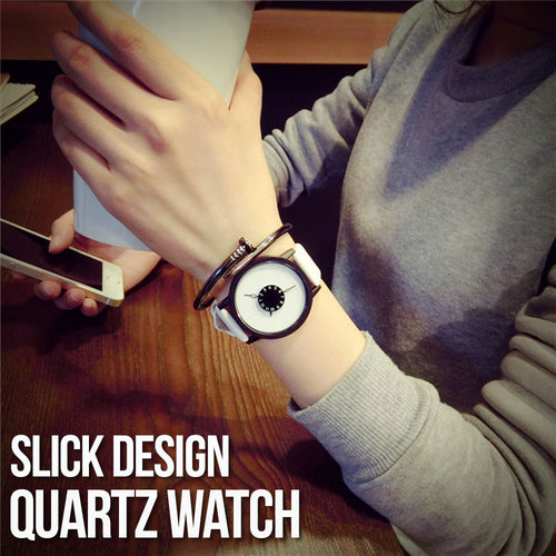 Slick Design Quartz Watch With Leather Strap Unique Handles Display