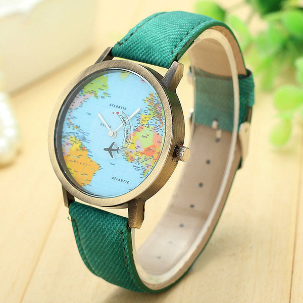 Quartz Watch Global Map with Cruising Airplane Denim Wristband